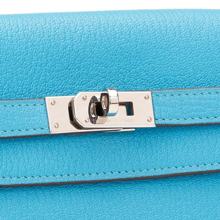 2010 Hermes Blue Aztec Chevre Mysore Leather Kelly Long Wallet 9