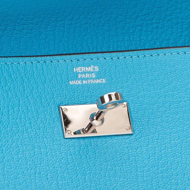 2010 Hermes Blue Aztec Chevre Mysore Leather Kelly Long Wallet 10