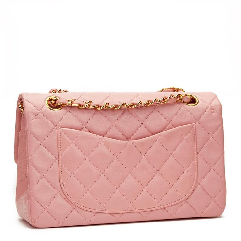 Women's 1990s Chanel Pink Quilted Lambskin Vintage Small Classic Double Flap For Sale