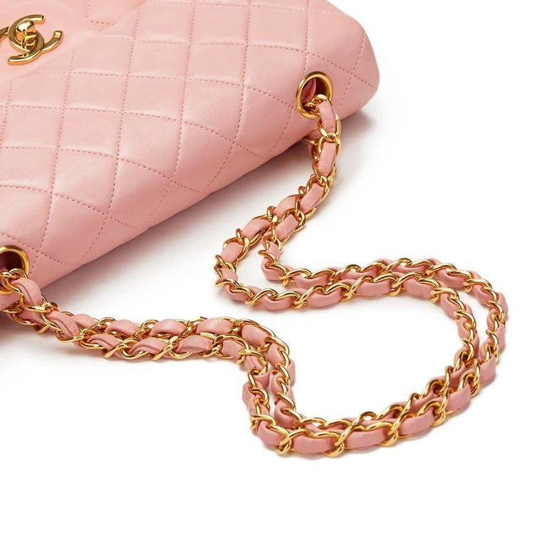 1990s Chanel Pink Quilted Lambskin Vintage Small Classic Double Flap For Sale 2