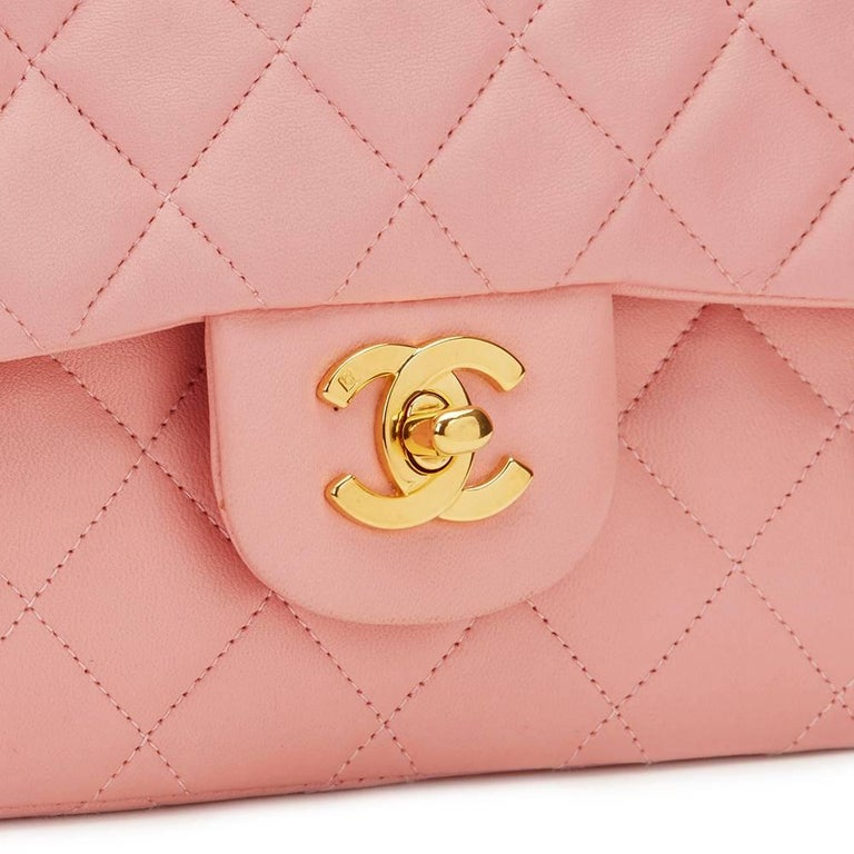 1990s Chanel Pink Quilted Lambskin Vintage Small Classic Double Flap For Sale 3