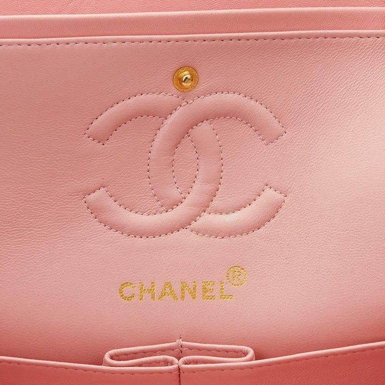 1990s Chanel Pink Quilted Lambskin Vintage Small Classic Double Flap For Sale 5