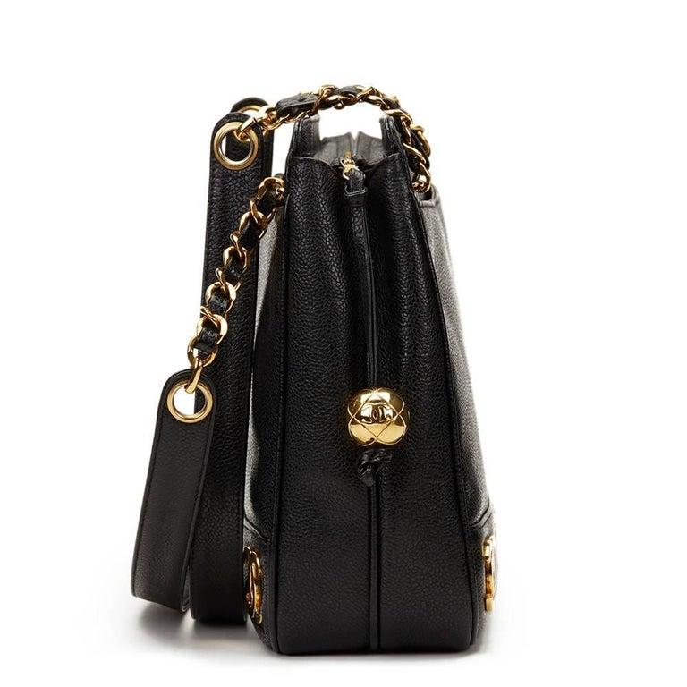 CHANEL Black Caviar Leather Vintage Logo Trim Shoulder Bag Xupes Reference   HB1148 Serial Number  048986a6ba192