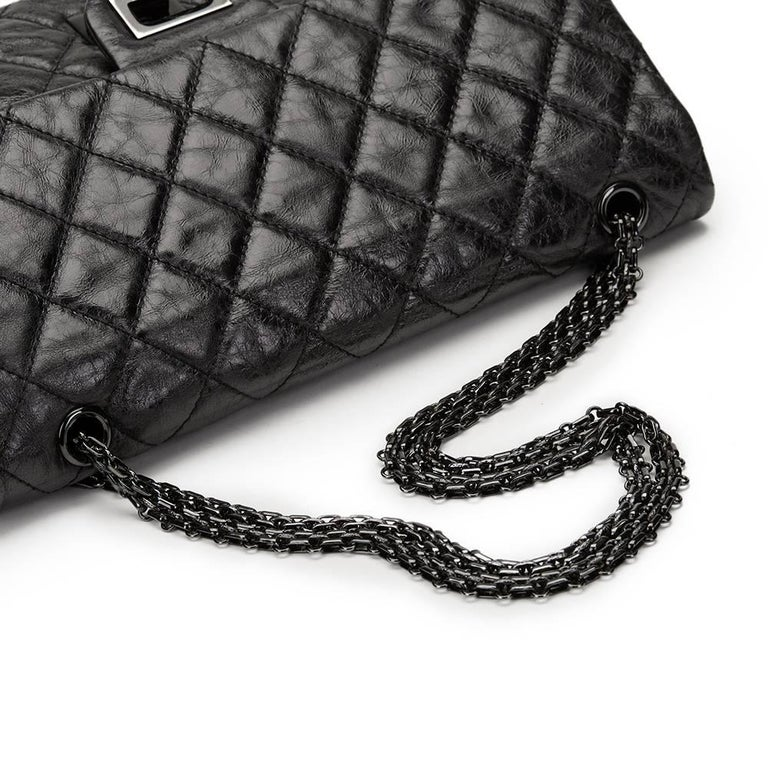 c48efe3c981c 2000s Chanel Black Glazed Calfskin SO Black 2.55 Reissue 227 Double Flap Bag  For Sale 4