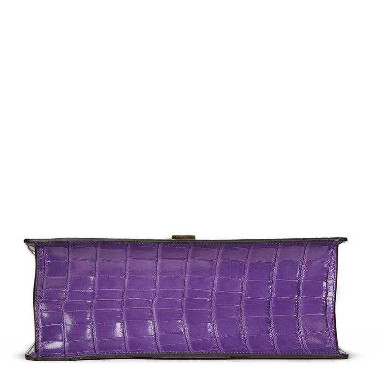 2016 Gucci Violet Cyclamen Alligator Leather Sylvie Top Handle Tote 4