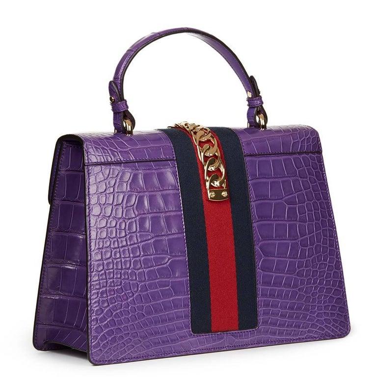 2016 Gucci Violet Cyclamen Alligator Leather Sylvie Top Handle Tote 5