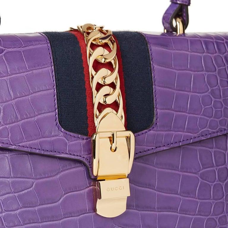 2016 Gucci Violet Cyclamen Alligator Leather Sylvie Top Handle Tote 8
