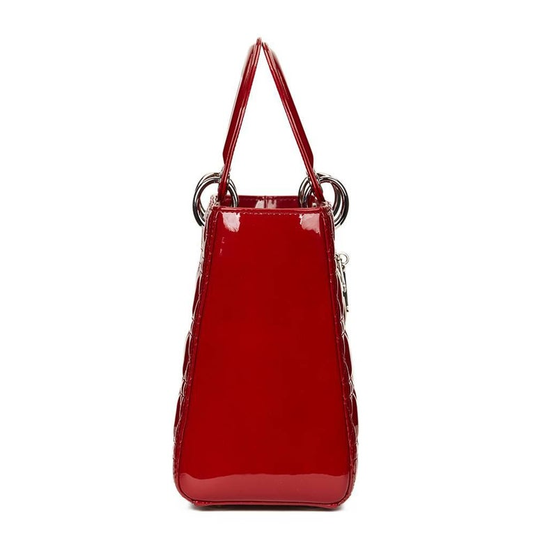 2012 Dior Deep Red Quilted Patent Leather Medium Lady Dior 2