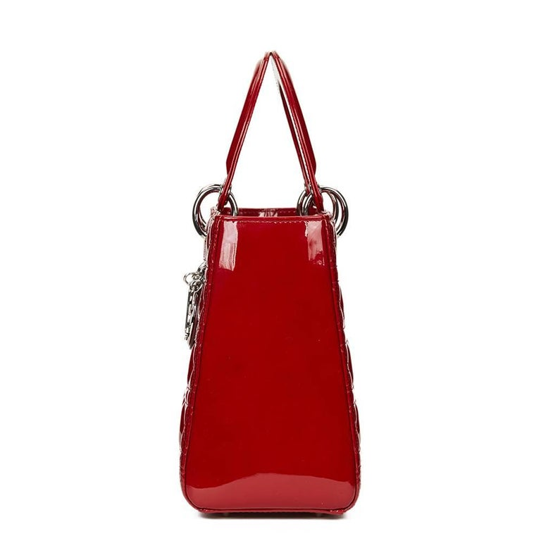 2012 Dior Deep Red Quilted Patent Leather Medium Lady Dior 3