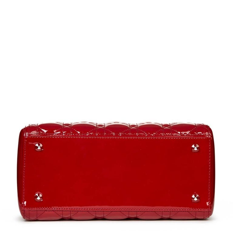 2012 Dior Deep Red Quilted Patent Leather Medium Lady Dior 4