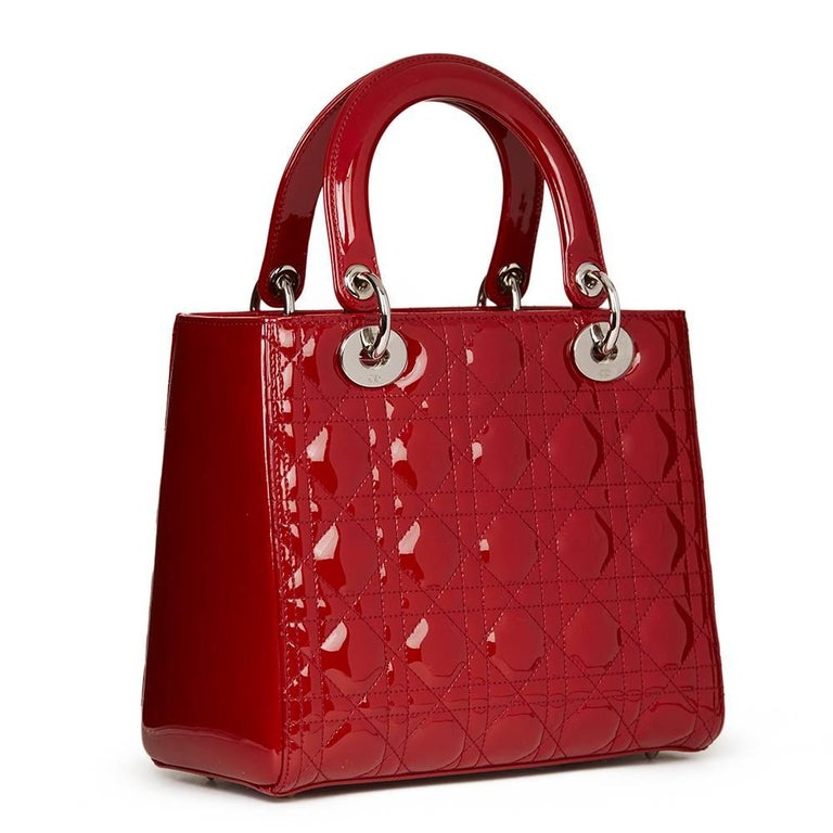 2012 Dior Deep Red Quilted Patent Leather Medium Lady Dior 5