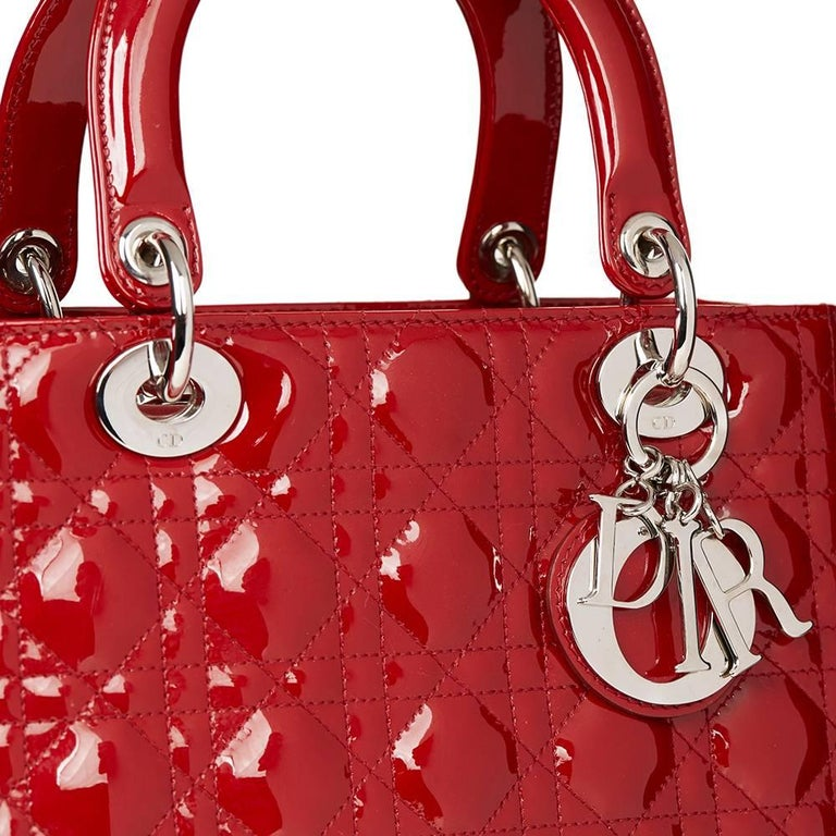 2012 Dior Deep Red Quilted Patent Leather Medium Lady Dior 9