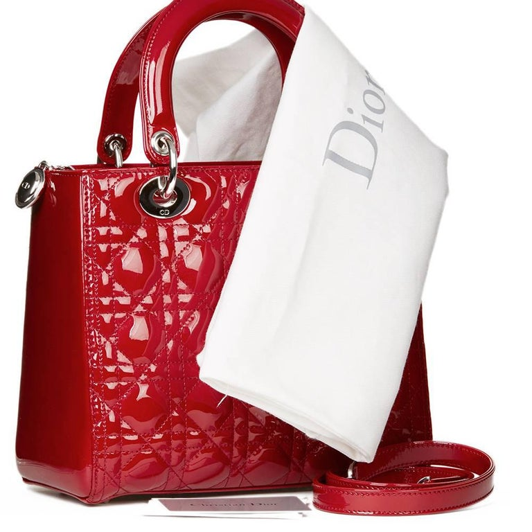 2012 Dior Deep Red Quilted Patent Leather Medium Lady Dior 10
