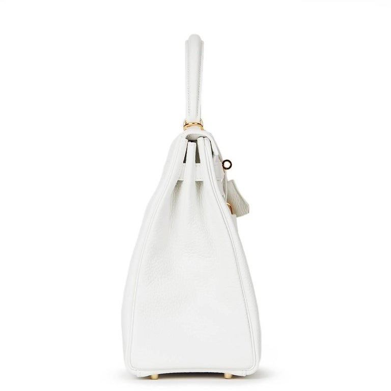 2015 Hermes White Clemence Leather Kelly 35cm Retourne 2