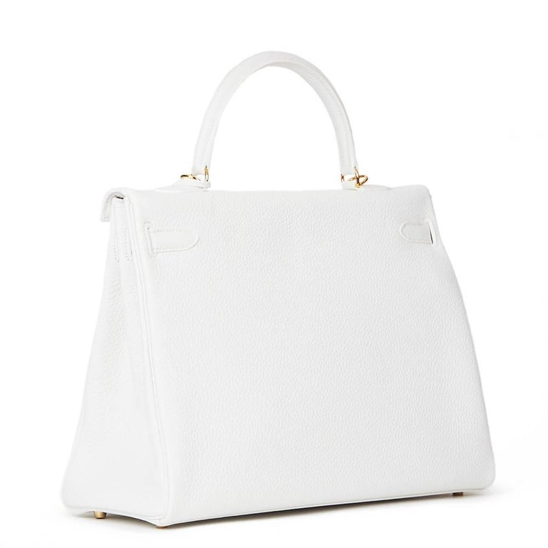 2015 Hermes White Clemence Leather Kelly 35cm Retourne 6