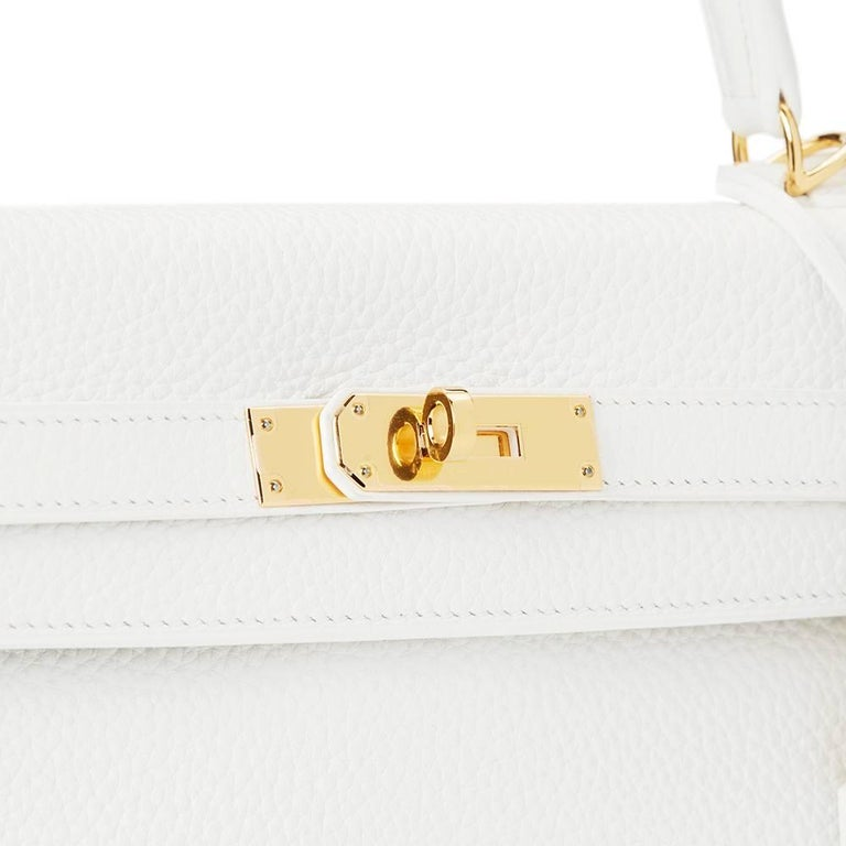 2015 Hermes White Clemence Leather Kelly 35cm Retourne 7