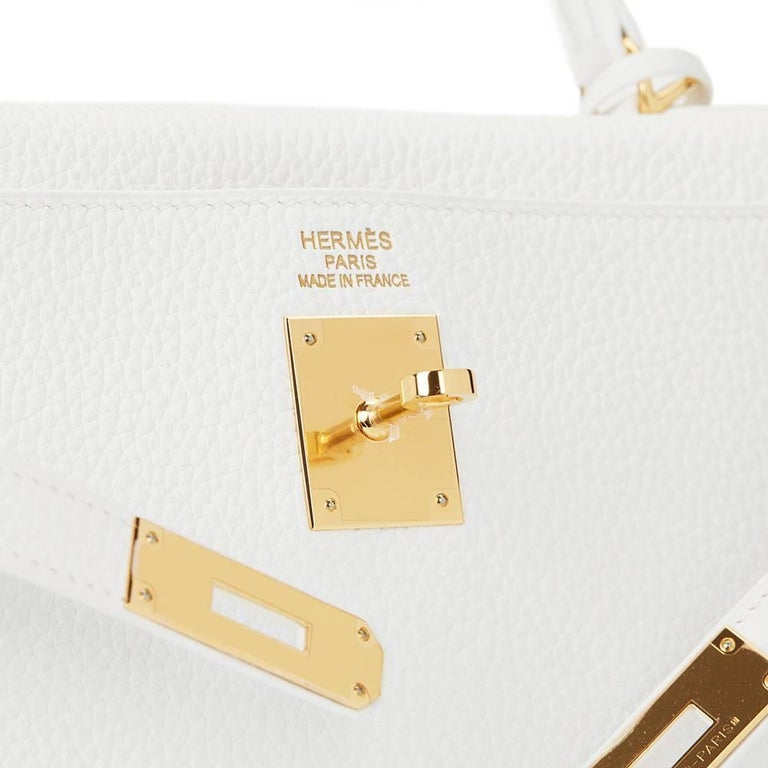 2015 Hermes White Clemence Leather Kelly 35cm Retourne 8