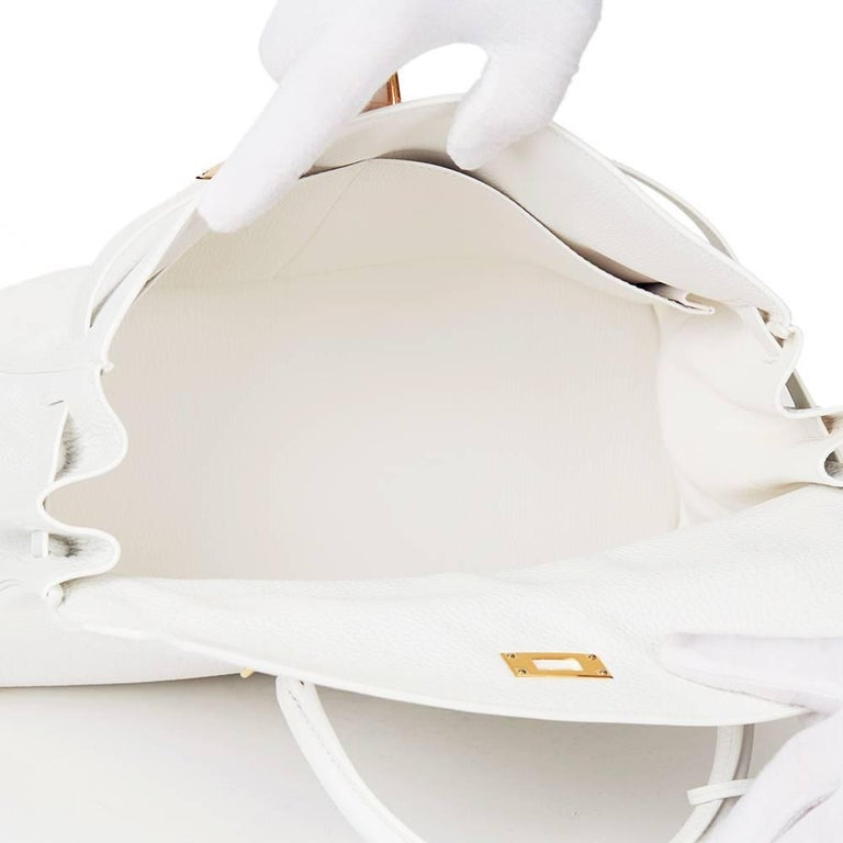 2015 Hermes White Clemence Leather Kelly 35cm Retourne 9
