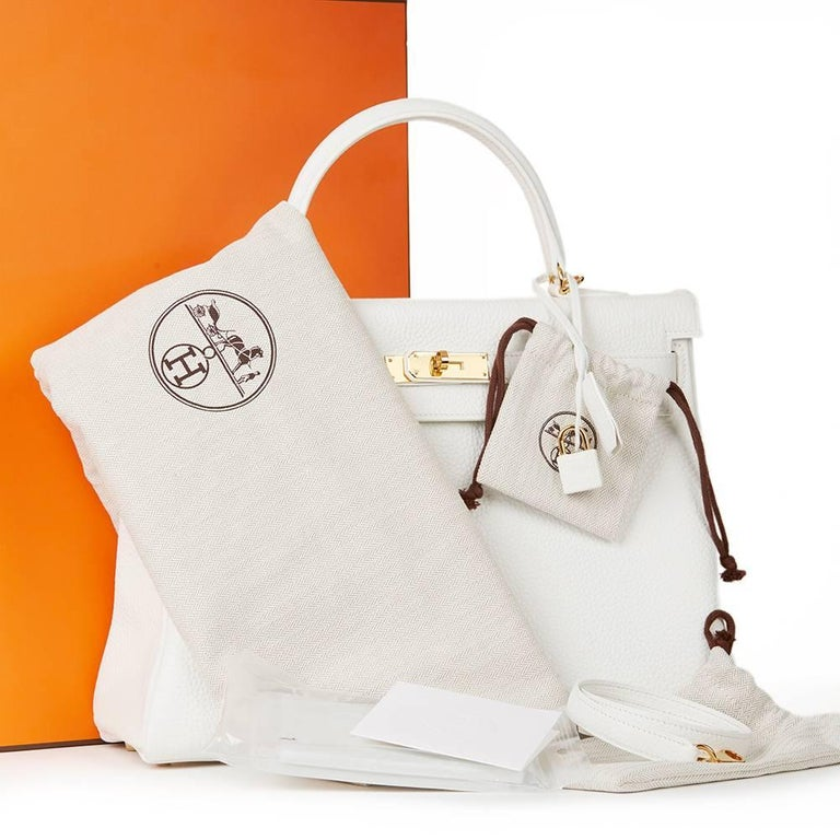 2015 Hermes White Clemence Leather Kelly 35cm Retourne 10
