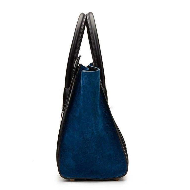 2015 Céline Blue, Beige, Black Tri-Colour Textured Calfskin & Suede Mini Luggage 2