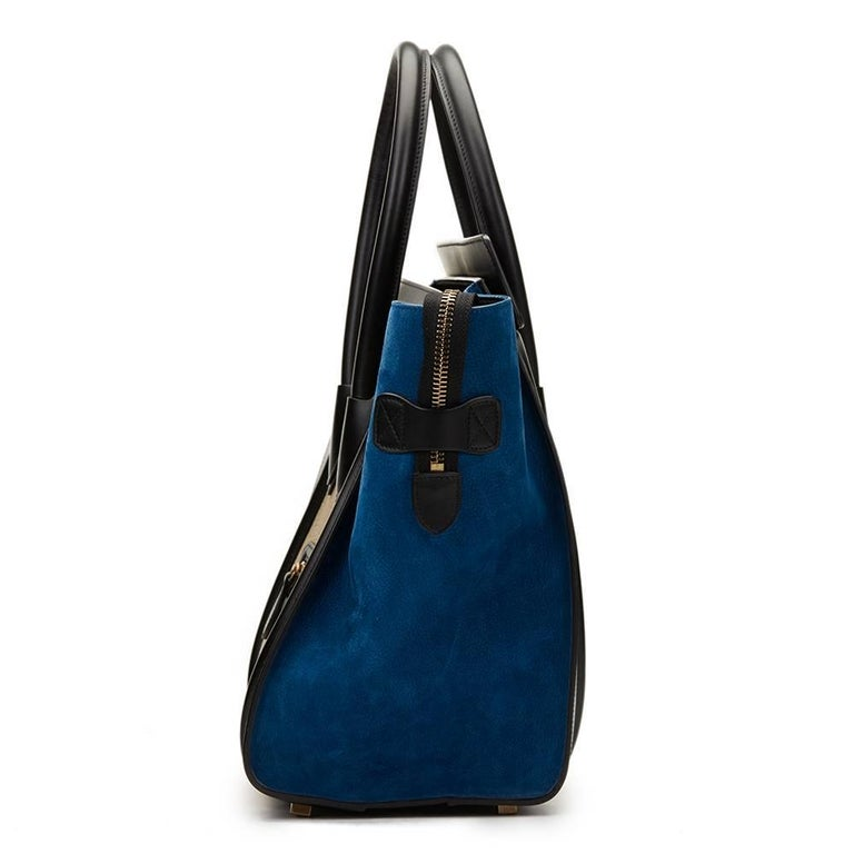 2015 Céline Blue, Beige, Black Tri-Colour Textured Calfskin & Suede Mini Luggage 3