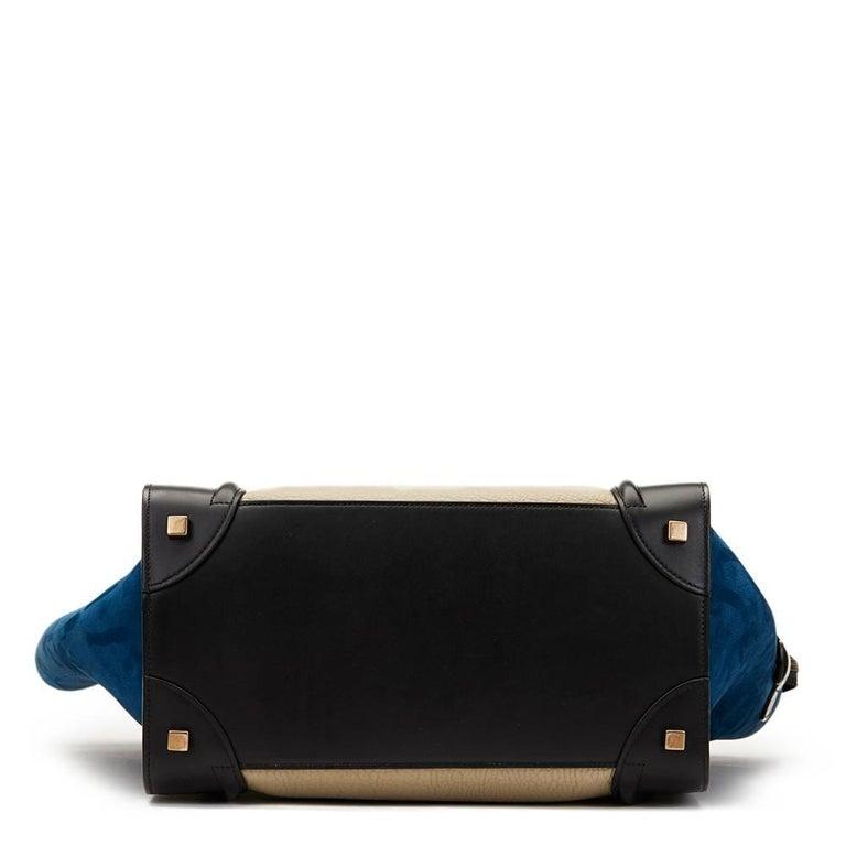 2015 Céline Blue, Beige, Black Tri-Colour Textured Calfskin & Suede Mini Luggage 4