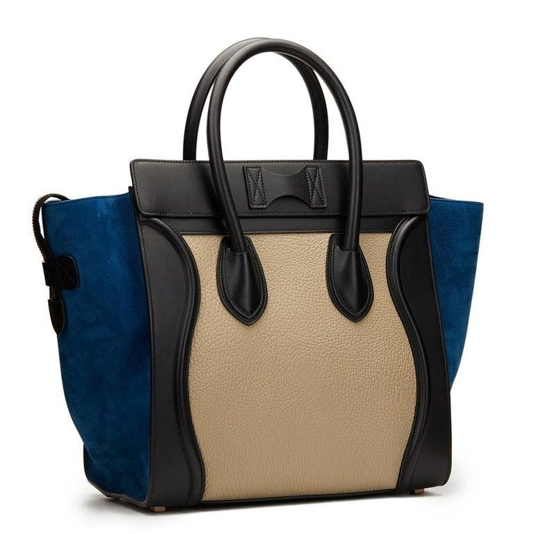 2015 Céline Blue, Beige, Black Tri-Colour Textured Calfskin & Suede Mini Luggage 5