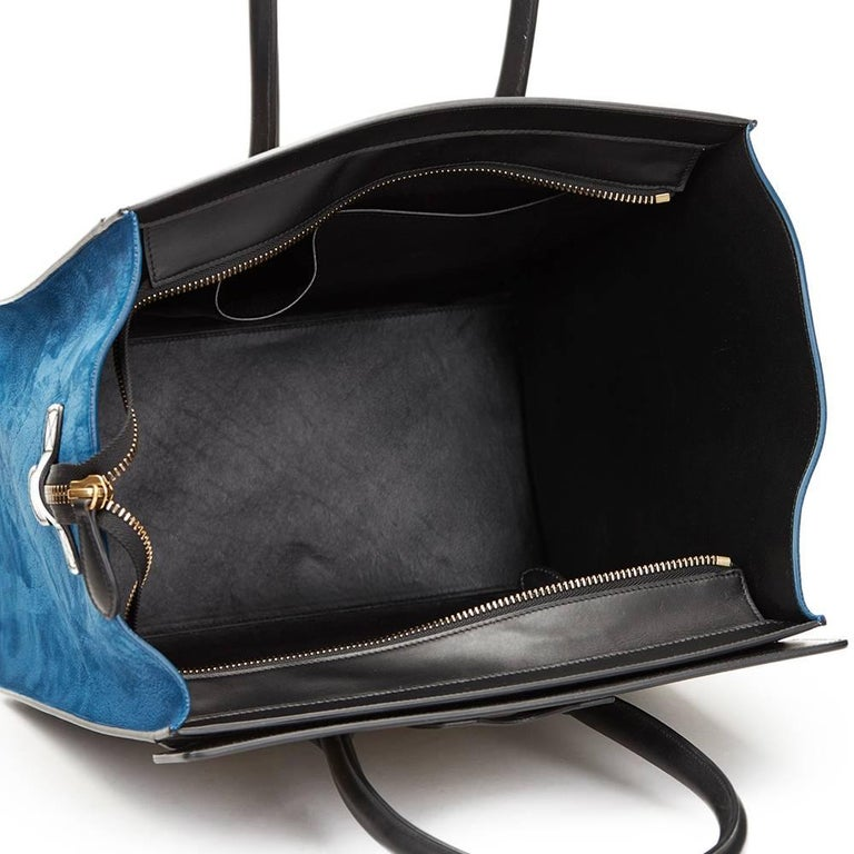 2015 Céline Blue, Beige, Black Tri-Colour Textured Calfskin & Suede Mini Luggage 6