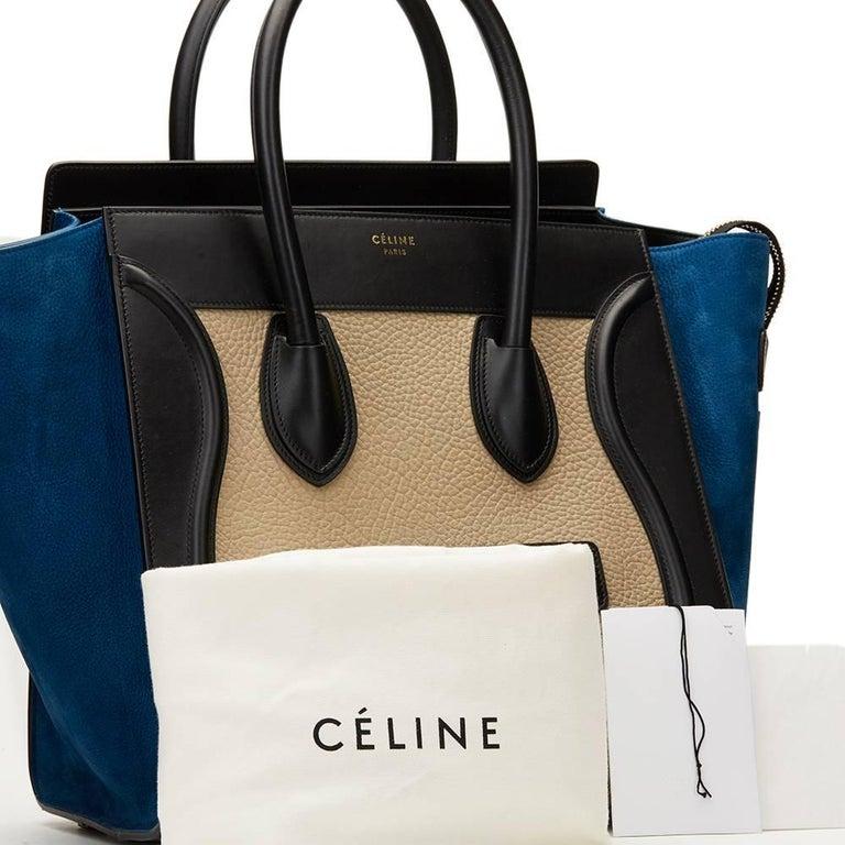 2015 Céline Blue, Beige, Black Tri-Colour Textured Calfskin & Suede Mini Luggage 10