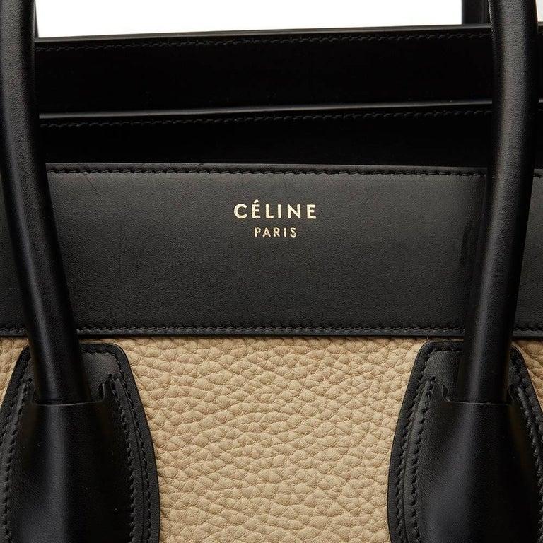 2015 Céline Blue, Beige, Black Tri-Colour Textured Calfskin & Suede Mini Luggage 8