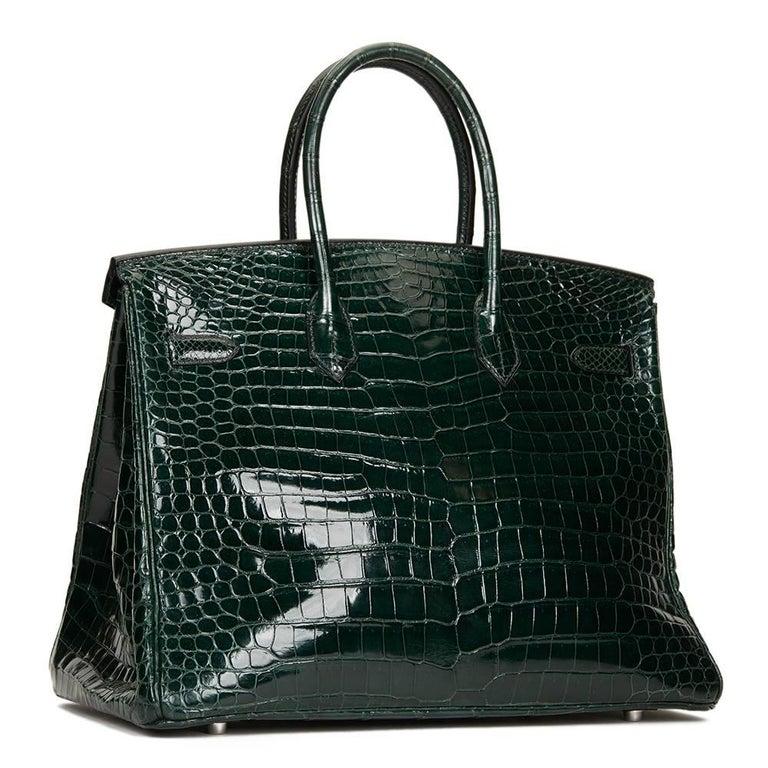 2007 Hermes Vert Fonce Porosus Crocodile Birkin 35cm 7