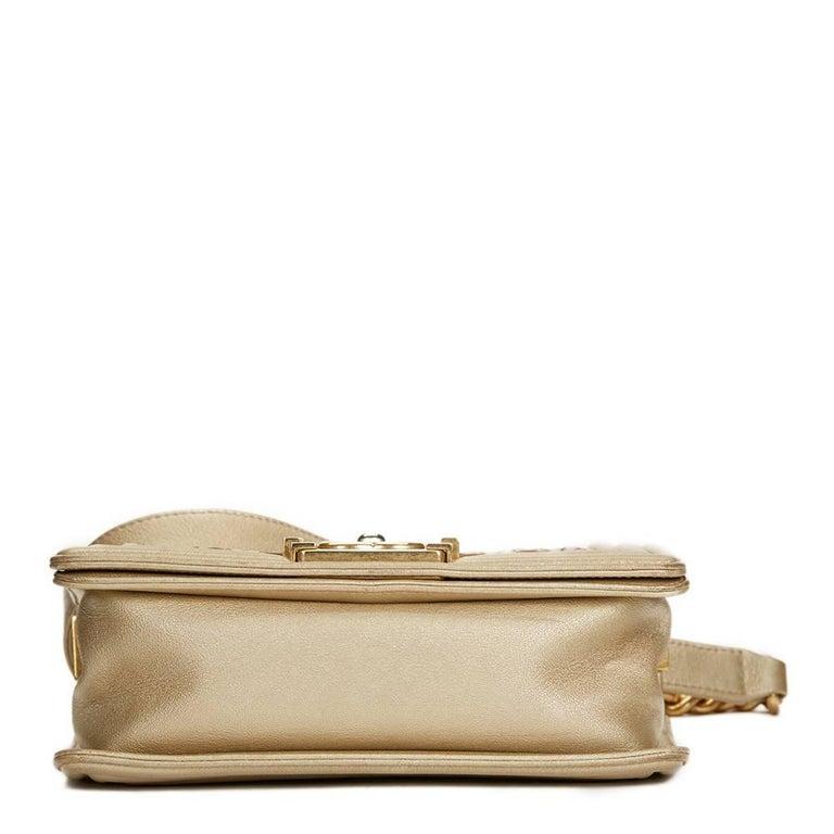 c00fe9fa886dbe 2015 Chanel Light Gold Metallic Lambskin Interwoven CC Small Le Boy Bag In  Good Condition For