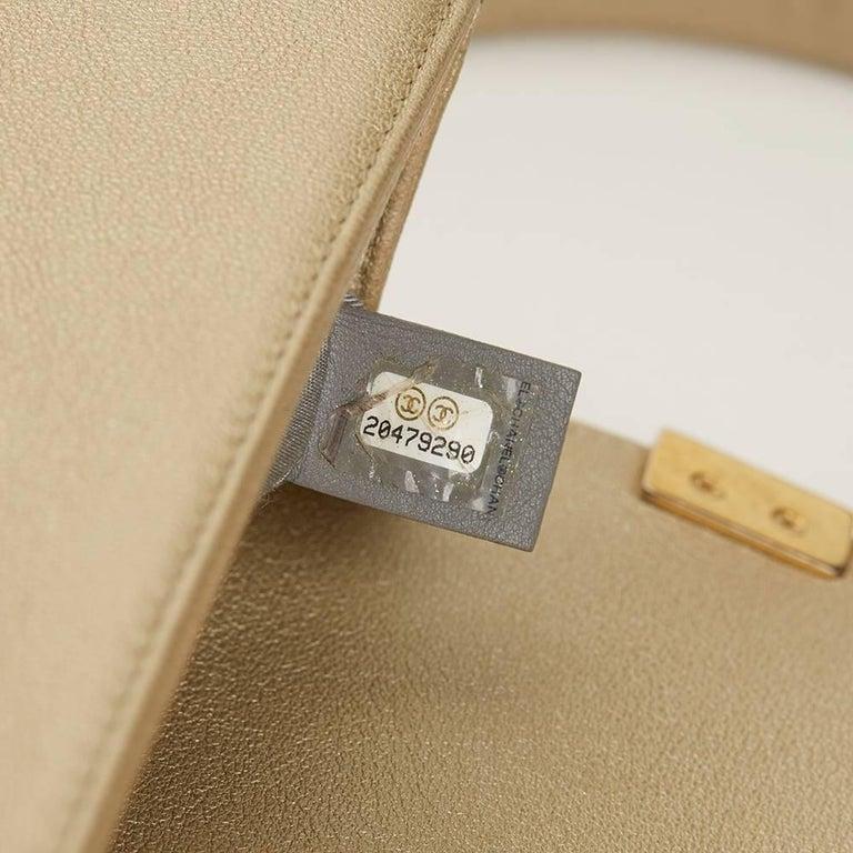 734ef4118e6739 2015 Chanel Light Gold Metallic Lambskin Interwoven CC Small Le Boy Bag For  Sale 2