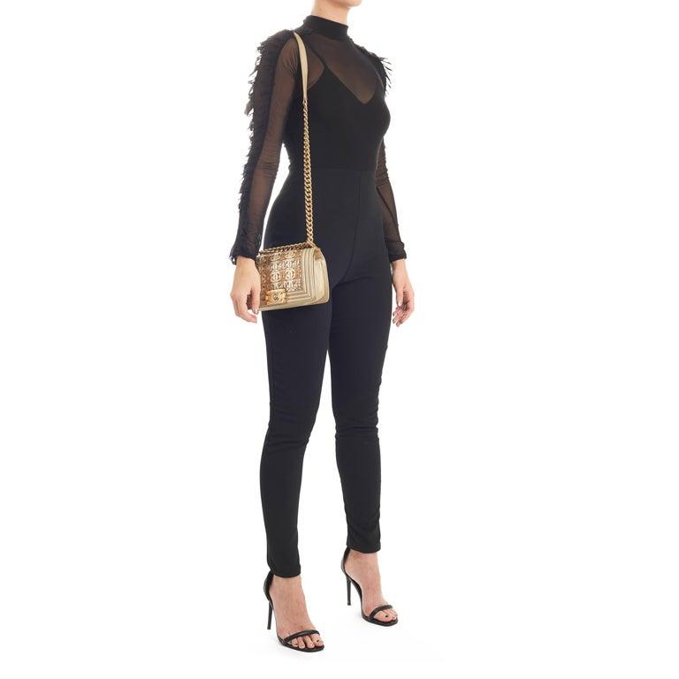 510c2f8f8b1d16 2015 Chanel Light Gold Metallic Lambskin Interwoven CC Small Le Boy Bag For  Sale 5