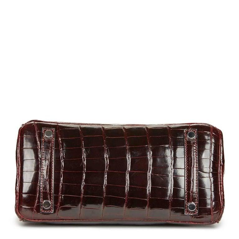 Women's 2008 Hermes Bordeaux Shiny Niloticus Crocodile Leather Birkin 25cm For Sale