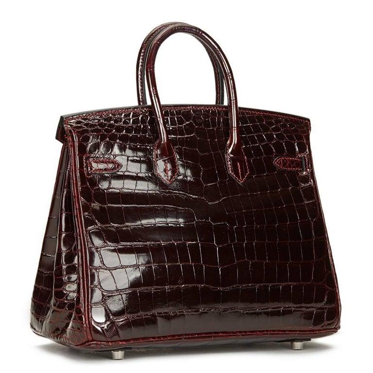 2008 Hermes Bordeaux Shiny Niloticus Crocodile Leather Birkin 25cm For Sale 1
