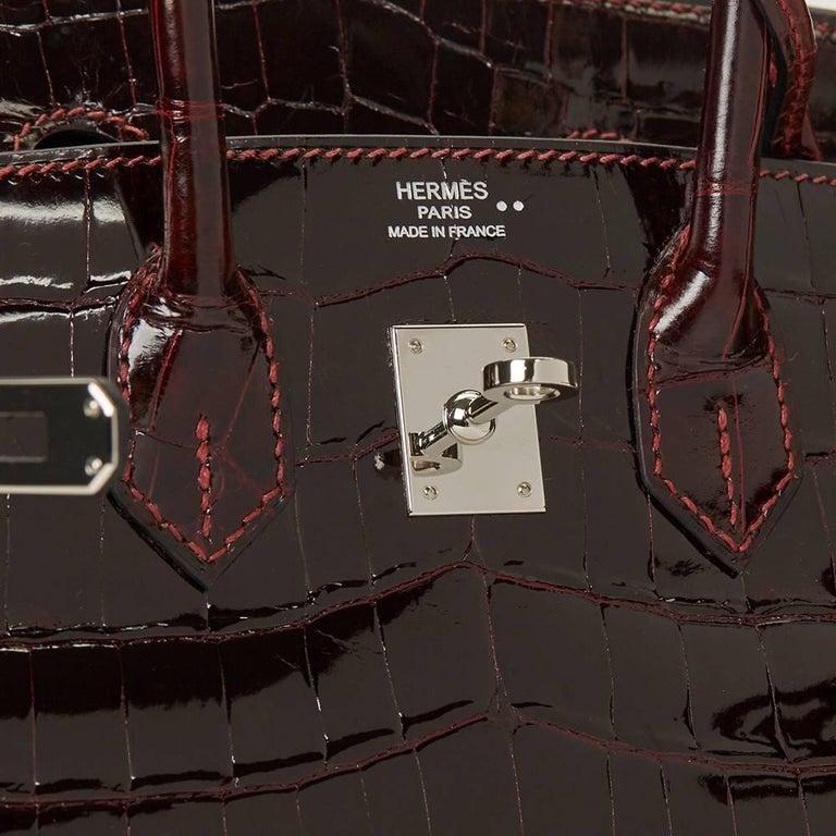 2008 Hermes Bordeaux Shiny Niloticus Crocodile Leather Birkin 25cm For Sale 2