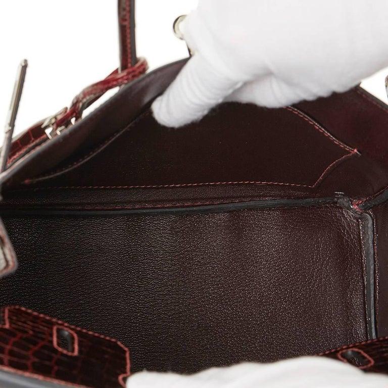 2008 Hermes Bordeaux Shiny Niloticus Crocodile Leather Birkin 25cm For Sale 3