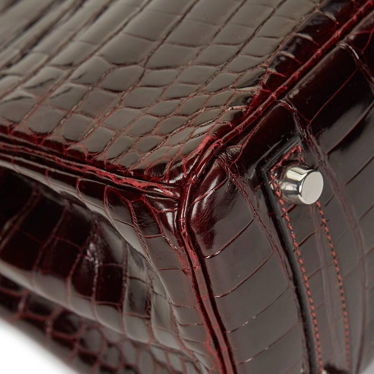 2008 Hermes Bordeaux Shiny Niloticus Crocodile Leather Birkin 25cm For Sale 4