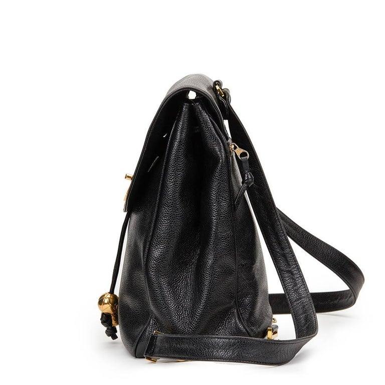 1990s Chanel Black Caviar Leather Vintage Timeless Backpack In Excellent Condition For Sale In Bishop's Stortford, Hertfordshire