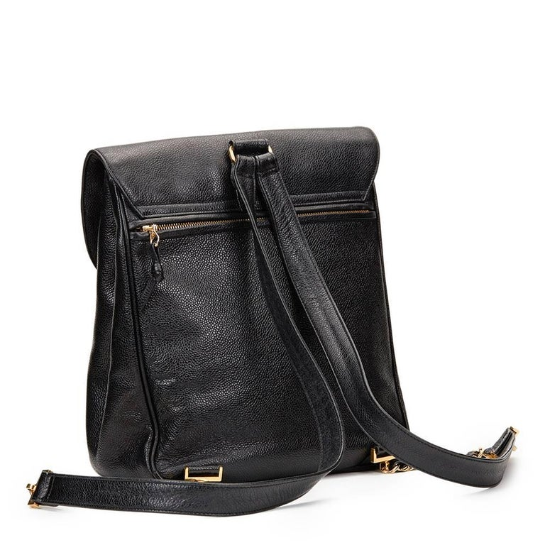 Women's 1990s Chanel Black Caviar Leather Vintage Timeless Backpack For Sale