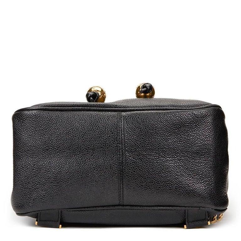 1990s Chanel Black Caviar Leather Vintage Timeless Backpack For Sale 1