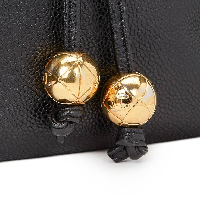 1990s Chanel Black Caviar Leather Vintage Timeless Backpack For Sale 2