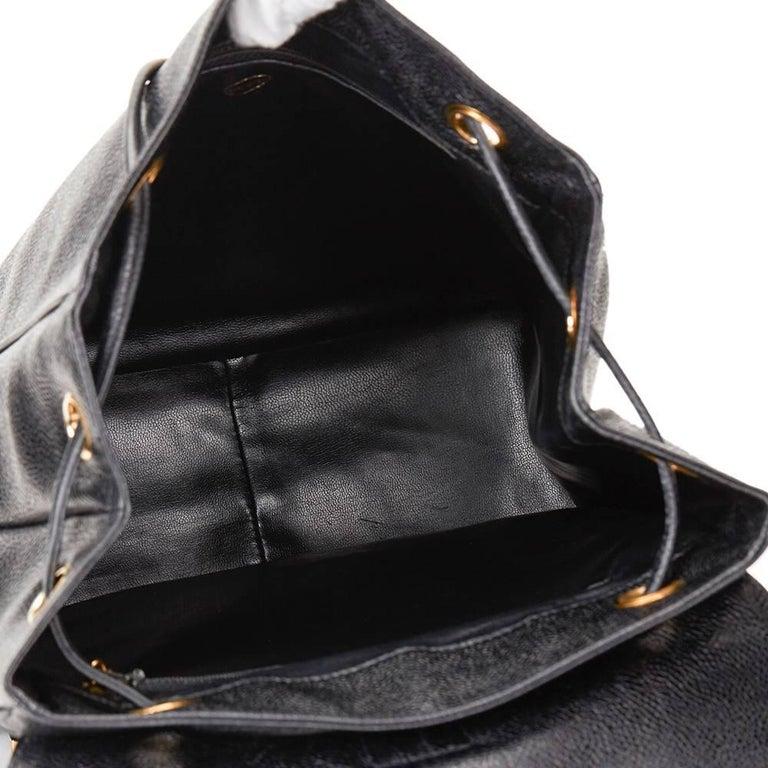 1990s Chanel Black Caviar Leather Vintage Timeless Backpack For Sale 3