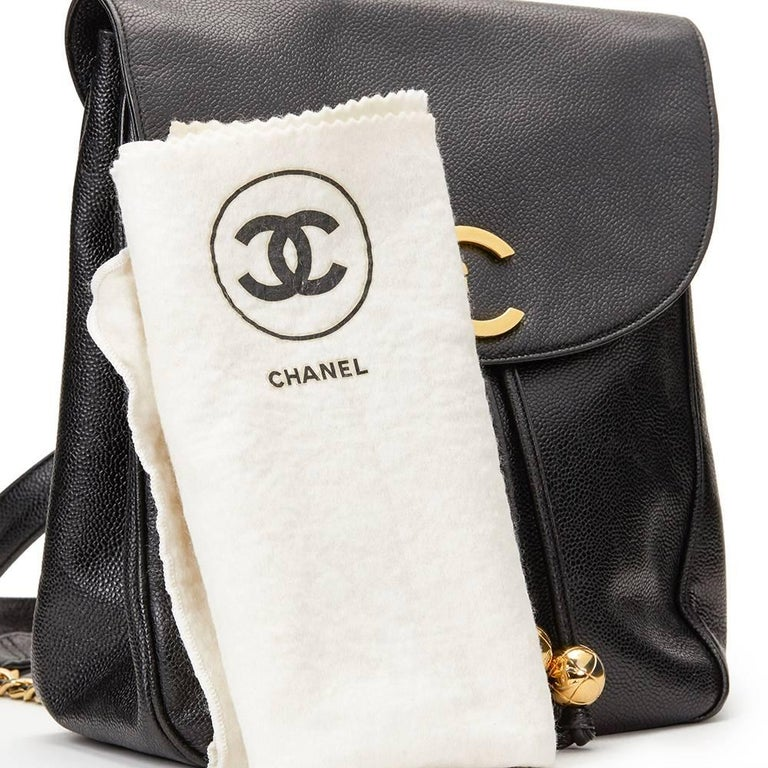 1990s Chanel Black Caviar Leather Vintage Timeless Backpack For Sale 6