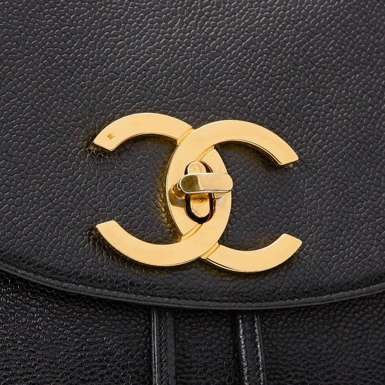 1990s Chanel Black Caviar Leather Vintage Timeless Backpack For Sale 5