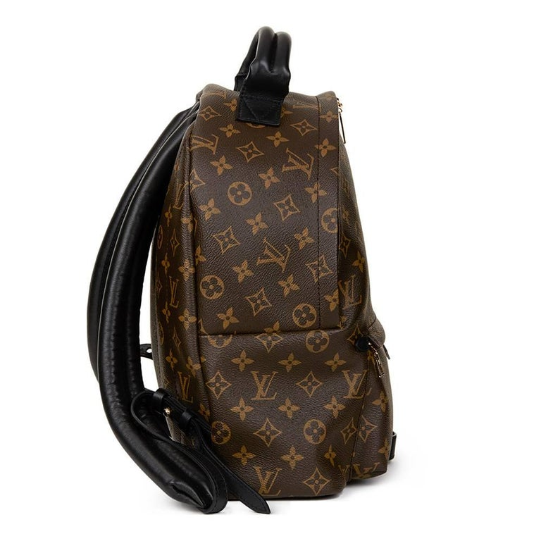 Black 2016 Louis Vuitton Brown Monogram Coated Canvas Palm Springs Backpack MM For Sale