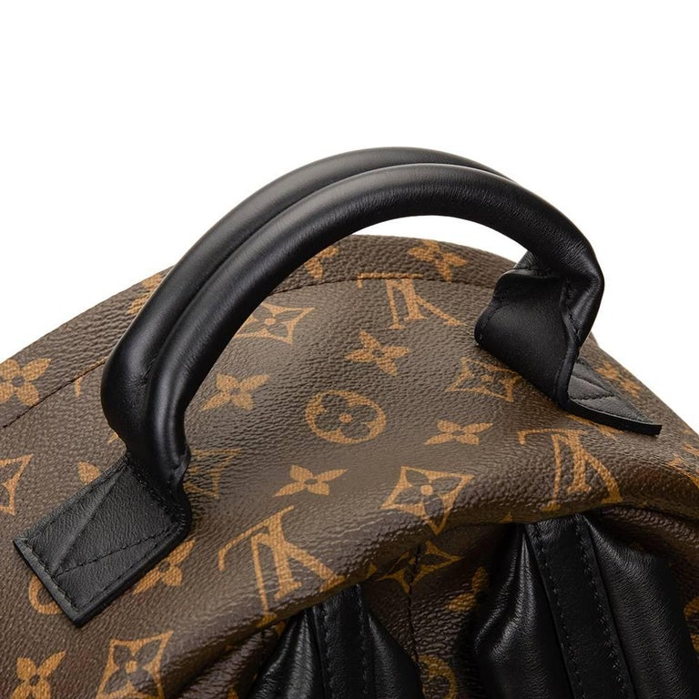 2016 Louis Vuitton Brown Monogram Coated Canvas Palm Springs Backpack MM For Sale 2