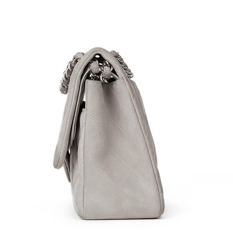 Gray 2012 Chanel Grey Quilted Caviar Suede Jumbo Classic Double Flap Bag For Sale