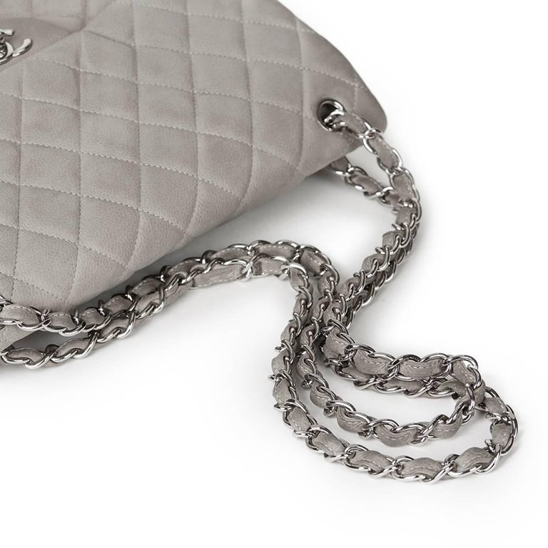 2012 Chanel Grey Quilted Caviar Suede Jumbo Classic Double Flap Bag For Sale 1
